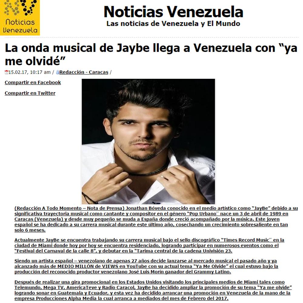 NOTA DE PRENSA NOTICIAS VENEZUELA